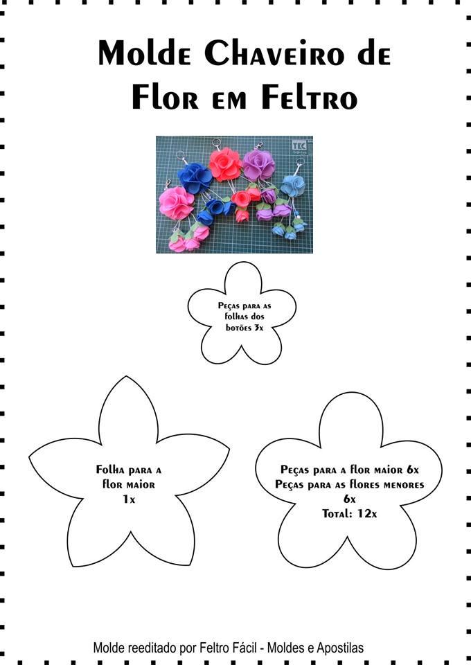 Molde Chaveiro de Flor em Feltro