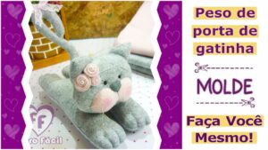 Read more about the article Peso de porta criativo | molde de gato em feltro – DIY