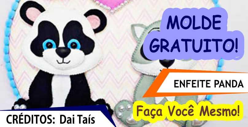 MOLDE GRATUITO – Enfeite de Porta de Panda e Guaxinim