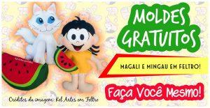 MAGALI E MINGAU EM FELTRO – MOLDES GRATUITOS