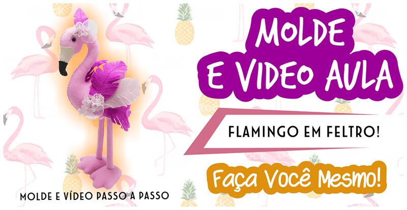 AULA DE FLAMINGO EM FELTRO