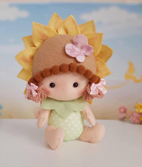 baby flor em feltro