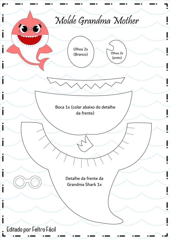 Molde Baby Shark Em Feltro Faca Voce Mesmo Feltro Facil