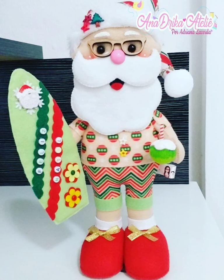 Papai Noel Surfista de Feltro
