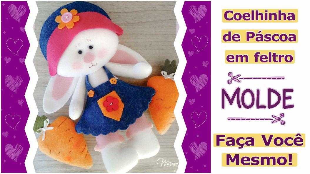 Read more about the article Molde criativo de páscoa | coelhinha fofa de feltro! Faça você mesmo