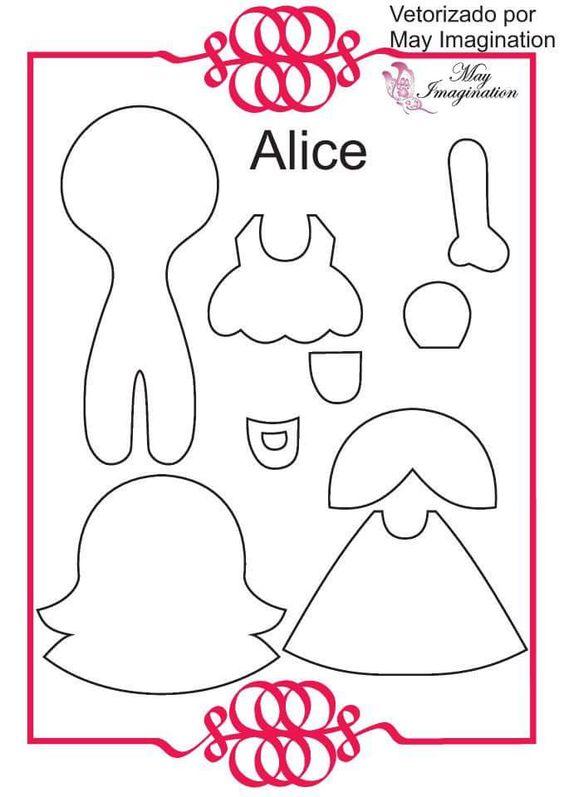 moldes da Alice no país das maravilhas