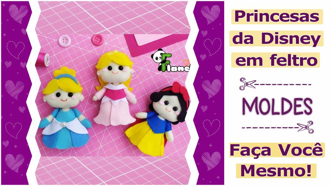 Moldes de princesas em feltro para imprimir e fazer