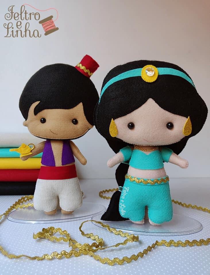 Jasmine e Aladdin de feltro