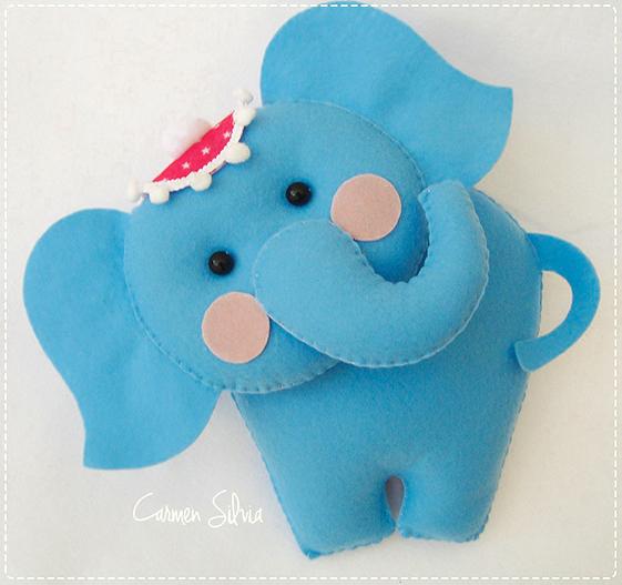elefante de feltro molde