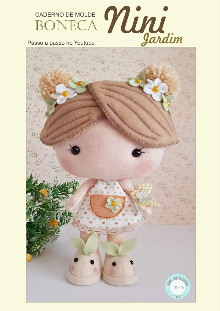 boneca jardim de feltro
